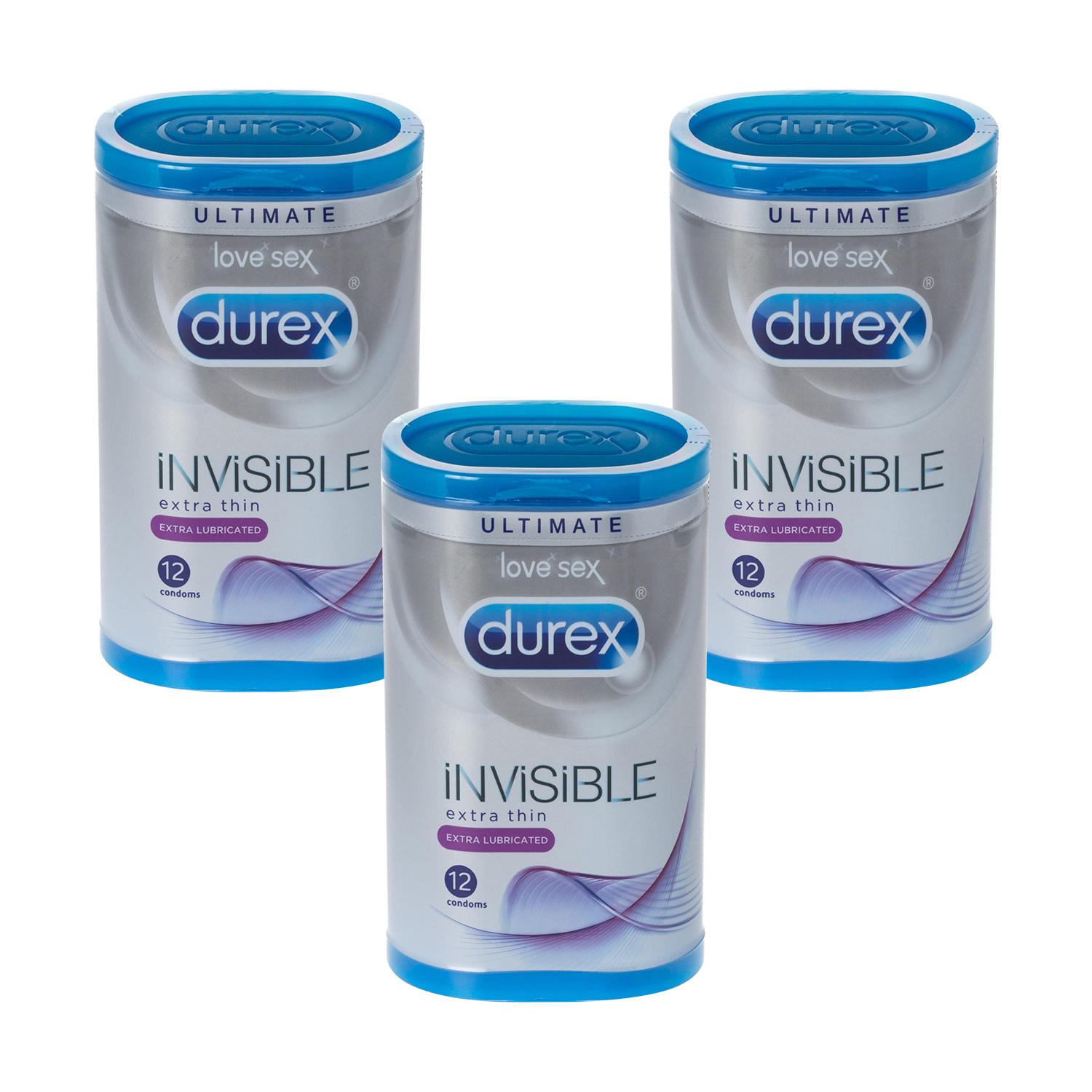 Durex Invisible Extra Lubricated 12's Triple