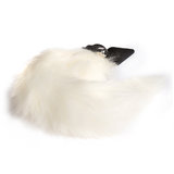 Frisky Faux Fur Fox Tail Vibrating Silicone Butt Plug 4 Inch